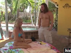 Jodi West gets slammed by the pool