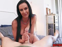 Brunette milf face fuck and facial