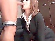 Teen hot Asian proving dick sucking talents at job interview
