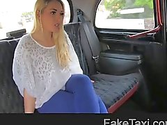 Hot blonde on taxi bonnet