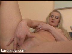 Milf drops her panties and pleasures her pussy