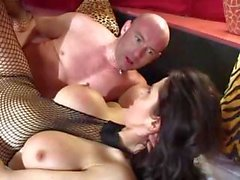 Hot MILF, Eva Karera, wears her fishnet bodysuit for hot sex action
