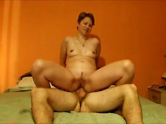 Short - Haired MILF assfuck and facial