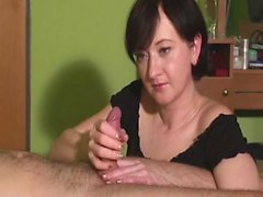 Milf causes it to be cum very difficult and jerks a cock