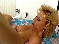 Busty Blonde Skinny Milf in Open Hose Fucks