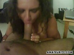 Busty and chubby amateur wife sucks and fucks