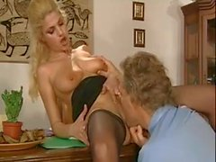 Sexy blonde milf receives his cock in ass