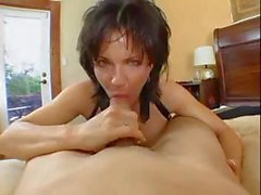Busty brunette MILF eats cock and showers before ass is hammered