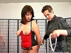 Bondage game where brunette busty MILF