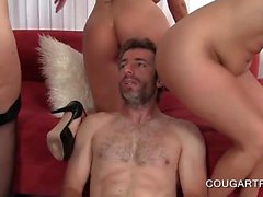 Three hot cougars sharing pecker in foursome