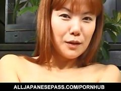 Haruka Mastui sucks boners and vibrator before is deeply pumped