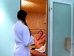 Busty Milf anal fucks in sauna
