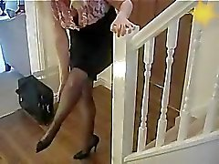 Business Boss With Big Tits In Black Stockings