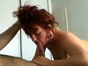 Redhead amateur Milf double blowjob anal facial