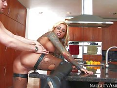 Tattooed busty blonde milf Britney Shannon is his wife's alternate