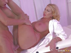 Leigh Darby enjoys milking the cum from a big cock