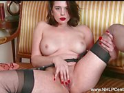 Milf strips off retro lingerie toys pussy to orgasm in nylon