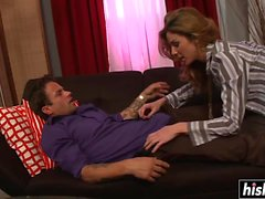MILF takes care of his hard dick