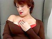 Hairy mature pleasures herself on the sofa