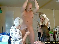 CFNM femdoms sucking to humiliate their poor sub