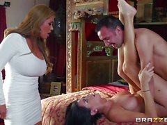 Brazzers Network Kianna Dior catches her step daughter fucking a British man and steps in