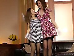 Tall British MILF lez fun with petite teen