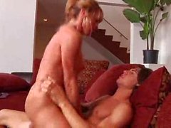 He eagerly fucks the shaved milf pussy