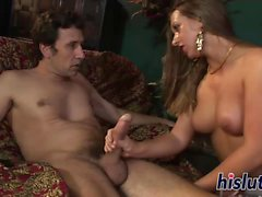 Kinky threesome action featuring a delicious blonde