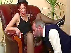 Old bastard caught masturbating by Hot Milf & Finishes it