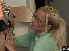 Blonde MILFs share a sex toy