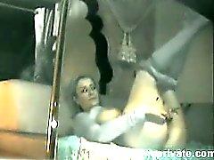 Spying Mum fingering on home webcam