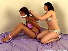 Dana teased by Marie while bound and gagged