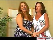 Two hot cougars suck cock