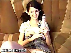 Sweet Hairy Teen Enjoying With Vibrator And Facial