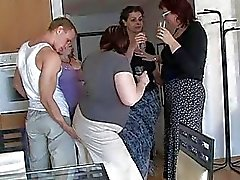 Four horny moms seduced cute lad to coll group sex