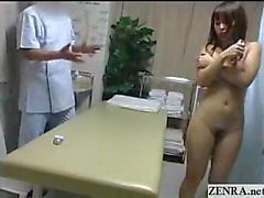 Nudist Japanese milf fingered to extasy on massage bed