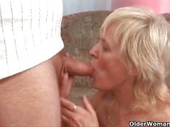 Mature blonde gets banged by an older stud