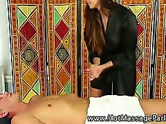 Busty tattooed masseuse sucks