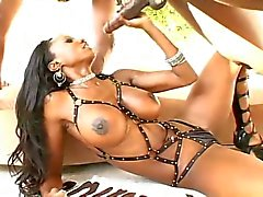 Black milf with leather straps riding on a huge black cock !