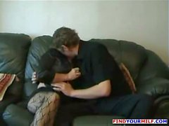 Chubby mature slut fucked on sofa