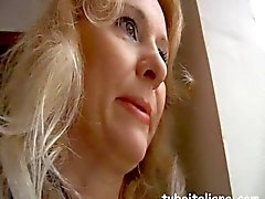 Blonde Italian milf tries to seduces her younger neighbor