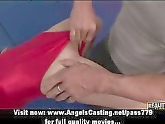 Adorable blonde teen cheerleader training with her teacher