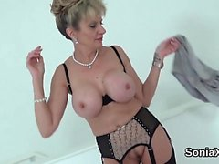 Cheating british milf lady sonia flashes her enormous melons