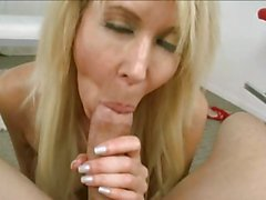 Temptress Erica Lauren gobbles down this fuck stick