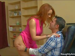 Big titted redhead mom Janet Mason makes boy happy