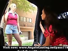 Lesbian chick and cute schoolgirl kissing and licking pussy in car