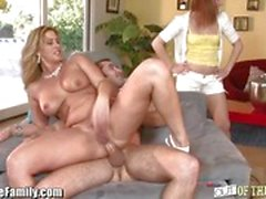 Step Daughter watches mom fuck
