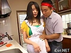 asian housewife gets stripped in her kitchen