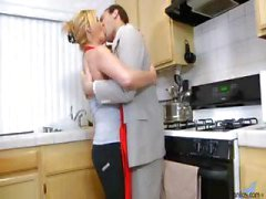 Blonde housewife sucks his dick and then rides it in kitchen