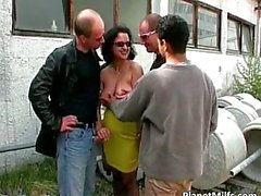Great outdoor gangbang